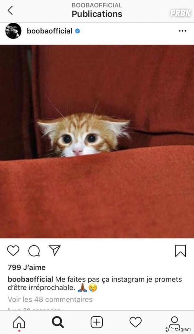 Booba adresse un message à Instagram avant la fermeture de son compte