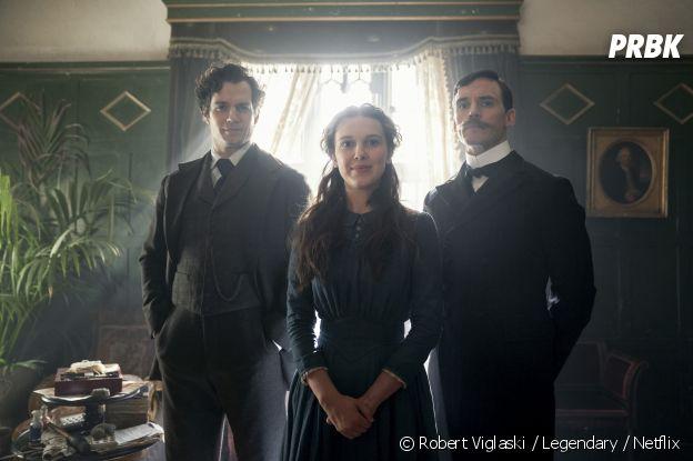 Enola Holmes : Henry Cavill (Sherlock), Millie Bobby Brown (Enola) et Sam Claflin (Mycroft) sur une photo du film