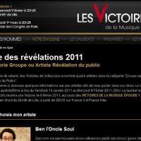 Victoires de la Musique 2011 ... votez pour les révélations de l'année