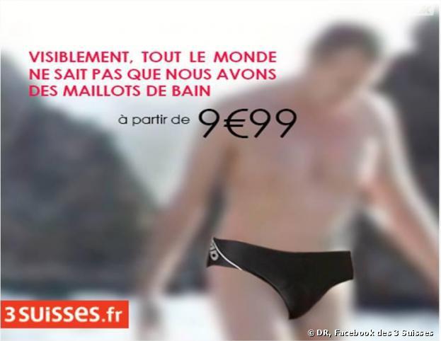 Publicité des 3 Suisses en réponse à la photo nue oubliée sur une publicité de La Redoute