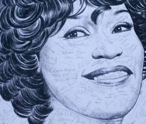 Un portrait de Whitney Houston signé par les fans