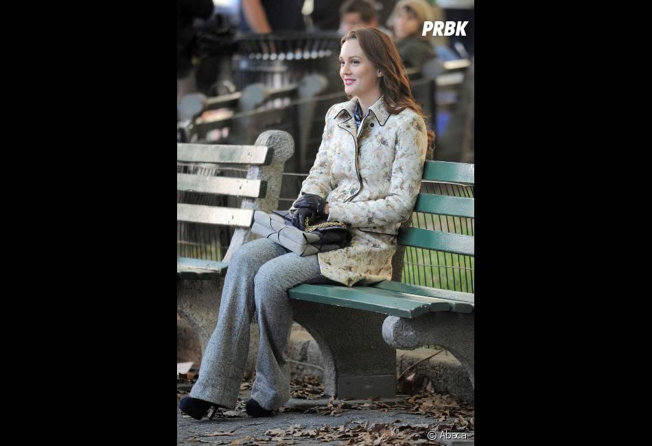 Leighton Meester sur le tournage de Gossip Girl