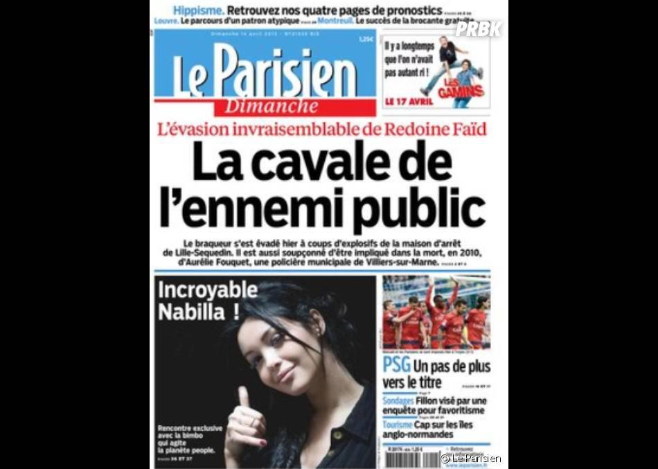 Nabilla Benattia a fait la Une du Parisien dimanche 14 avril