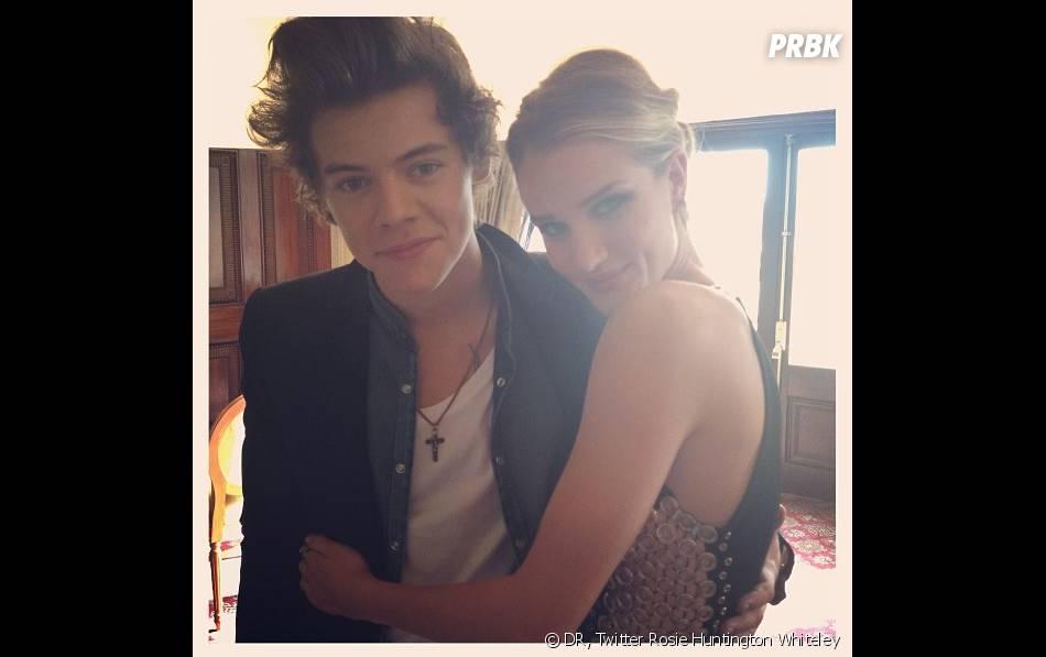 Harry Styles et Rosie Huntington Whiteley pendant leur photoshoot pour Glamour US