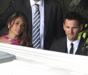 Lionel Messi et Antonella Roccuzzo au mariage de Xavi, le 13 juillet 2013 en Catalogne