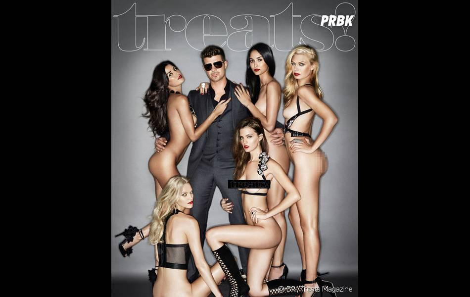 Robin Thicke entourée de filles nues en couverture de Treats Magazine