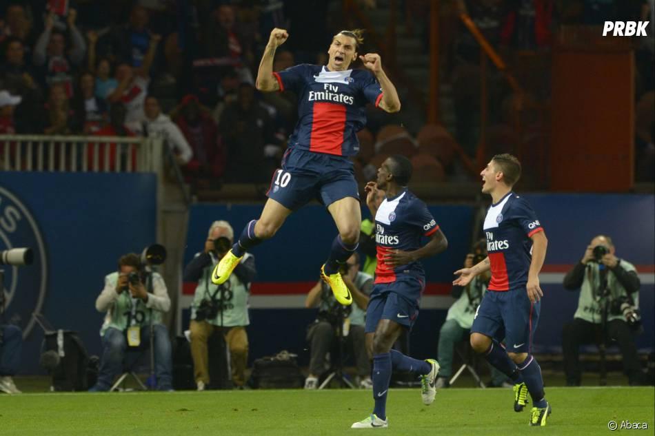 PSG VS AS Monaco : Zlatan Ibrahimovic heureux après son but, le 22 septembre 2013 au Parc des Princes