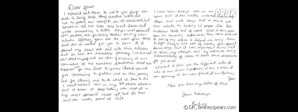 Britney Spears écrit à ses fans