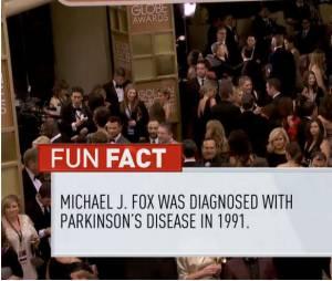 """Michael J. Fox : """"fun fact"""" maladroit de la chaîne E! pendant les Golden Globes 2014, le 12 janvier 2014 à Los Angeles"""