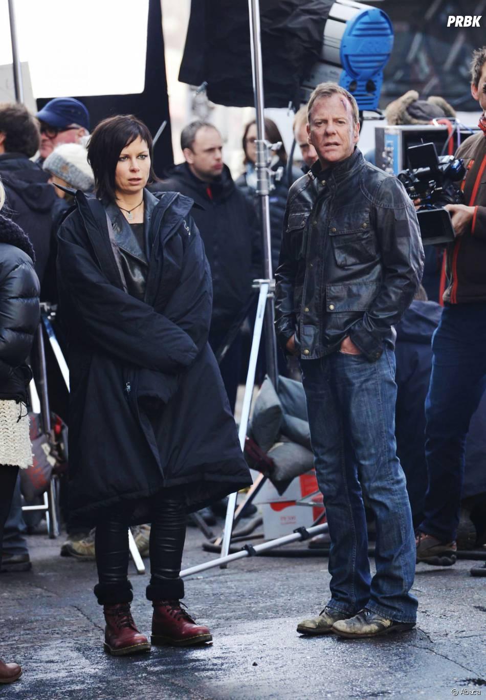 24 heures chrono saison 9 : Kiefer Sutherland et Mary Lynn Rajskub sur le tournage à Londres, le 22 janvier 2014