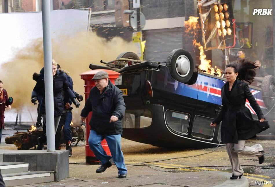 24 heures chrono saison 9 : voiture en feu sur le tournage, le 22 janvier 2014 à Londres