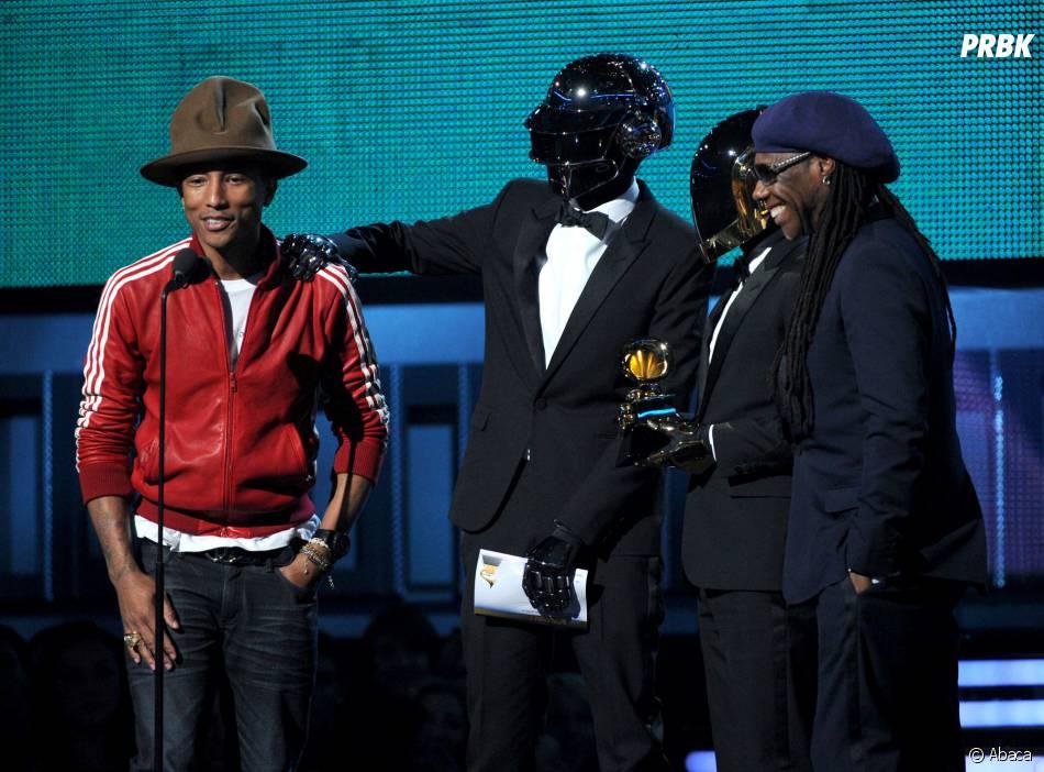 Grammy Awards 2014 : Daft Punk et Pharrell Williams sur scène, le 26 janvier 2014 à Los Angeles