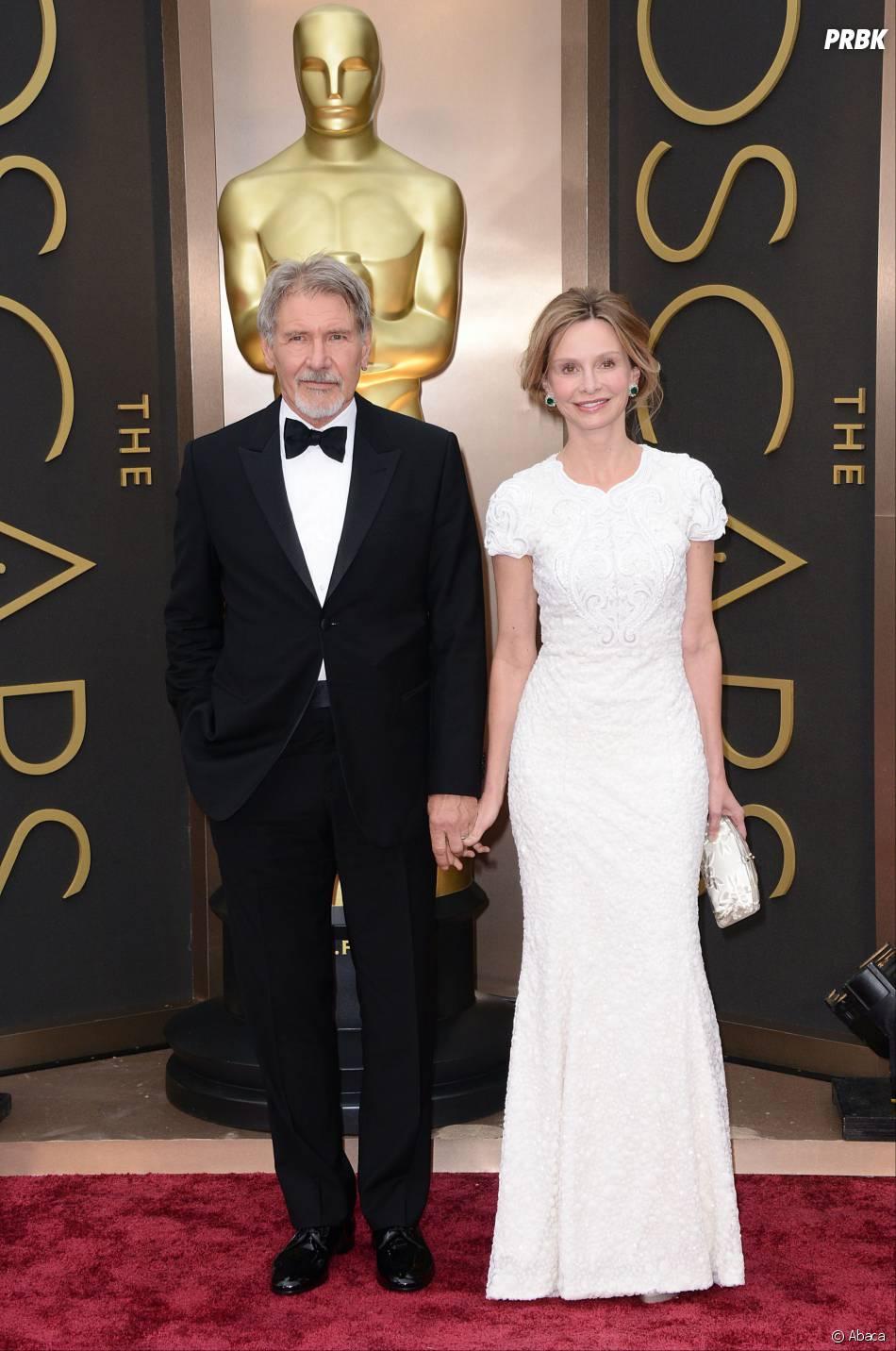 Harrison Ford et Calista Flockhart sur le tapis-rouge des Oscars le 2 mars 2014