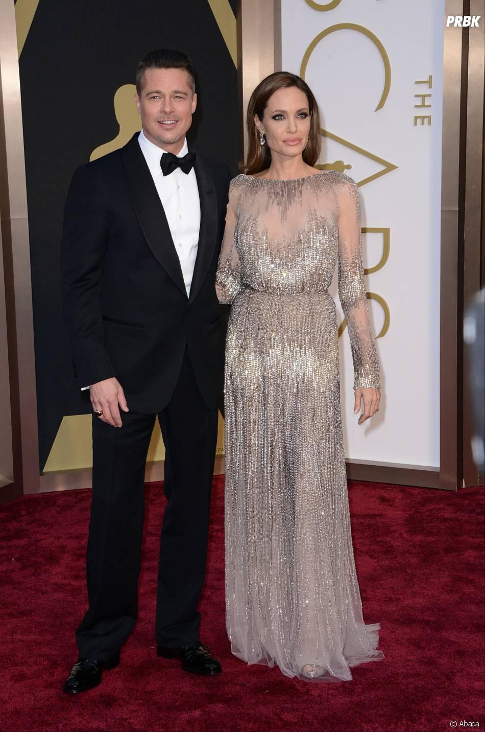 Brad Pitt et Angelina Jolie sur le tapis-rouge des Oscars le 2 mars 2014
