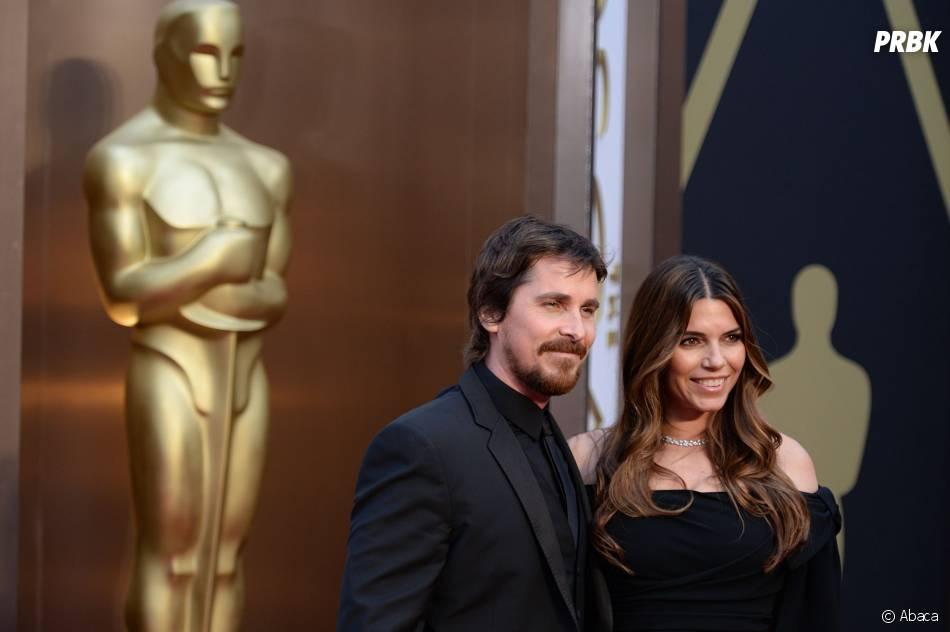 Christian Bale et sa femme sur le tapis-rouge des Oscars le 2 mars 2014