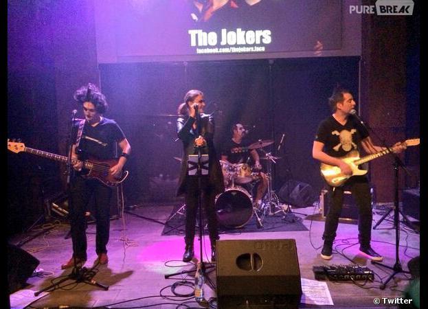 Sandrine Quétier sur scène avec The Jokers, le 12 mars 2014 à Lyon