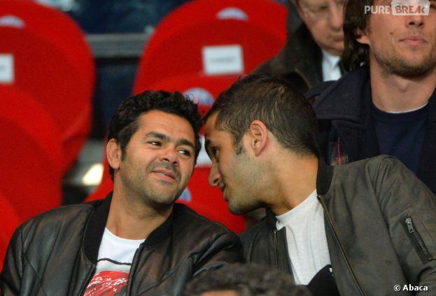 Jamel Debbouze et Malik Benthala au match PSG-Chelsea pour les quarts de finale aller de la Ligue des Champions, le 3 avril 2014 au Parc des Princes