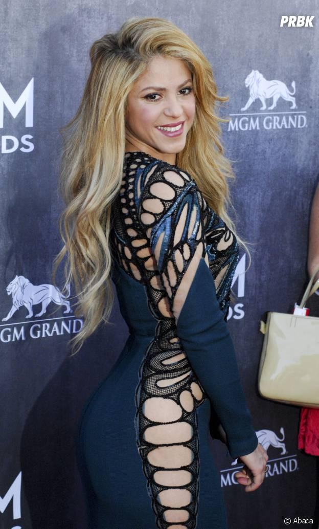 Shakira sans culotte dans sa robe bleue aux Country Music Awards 2014, le 6 avril à Las Vegas