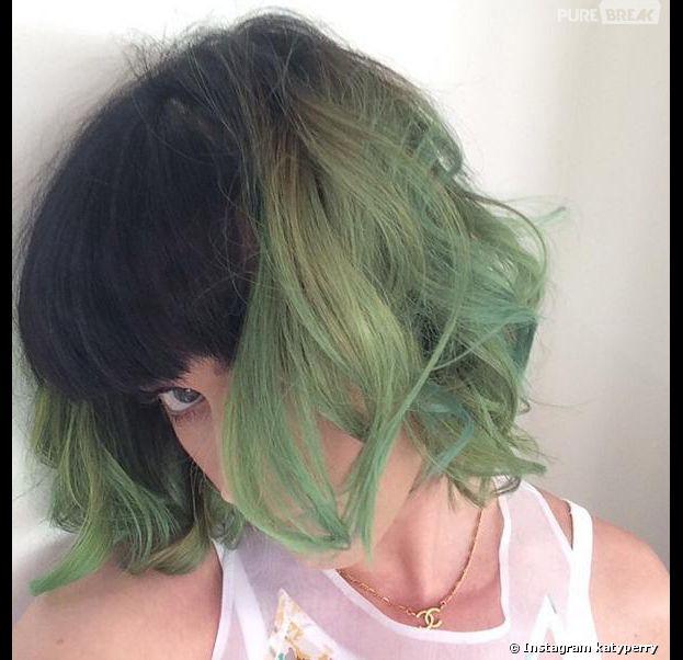 Katy Perry en mode cheveux verts sur Instagram