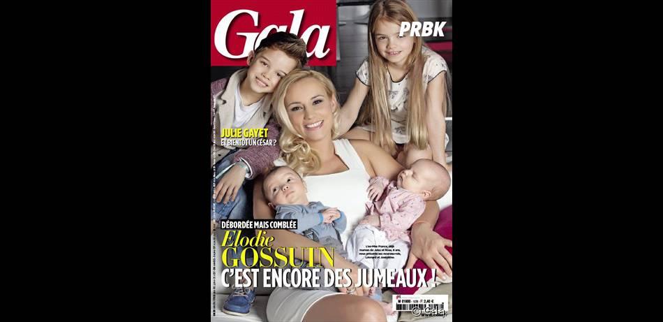 Elodie Gossuin et sa petite famille en Une du magazine Gala
