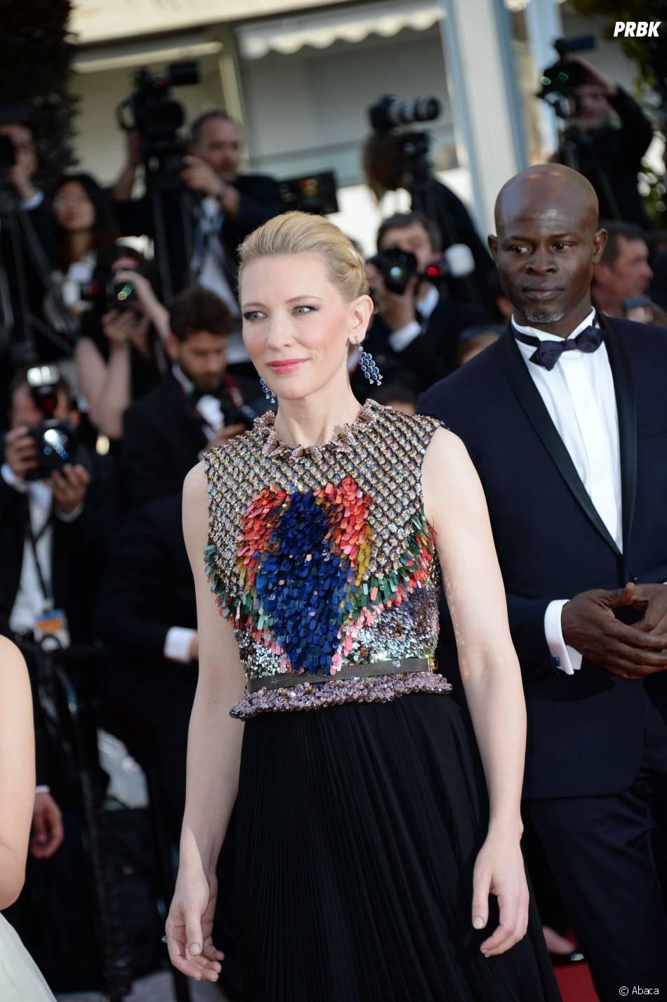 Cate Blanchett sur le tapis rouge du Festival de Cannes 2014, le vendredi 16 mai
