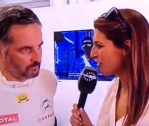Laury Thilleman taclée par le pilote automobile français Yvan Muller lors du WTCC à Moscou