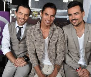 Nuno Resende, Julio Iglesias Junior et Damien Sargue des Latin Lovers lors de l'enregistrement du concert M6 Live à Issy-Les-Moulineaux, le 14 juin 2014