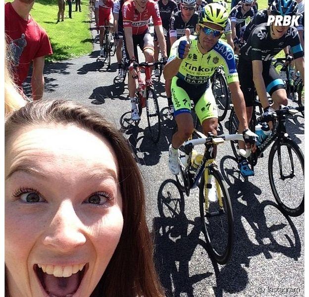 Tour de France : le selfie d'une Anglaise avec Alberto Contador et Christopher Froome