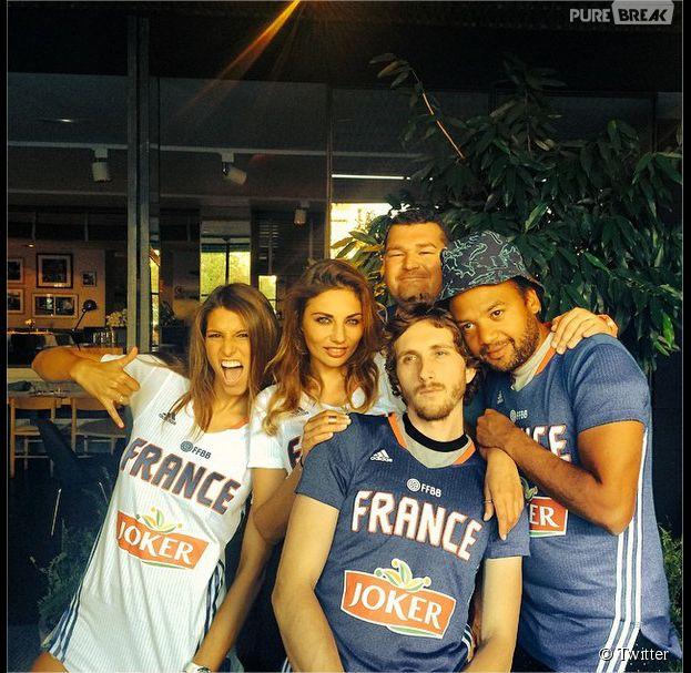 Laury Thilleman, Ariane Brodier, Baptiste Lecaplain, Fabrice Eboué : supporters des Bleus au basket en quart de finale de la Coupe du Monde 2014 contre l'Espagne
