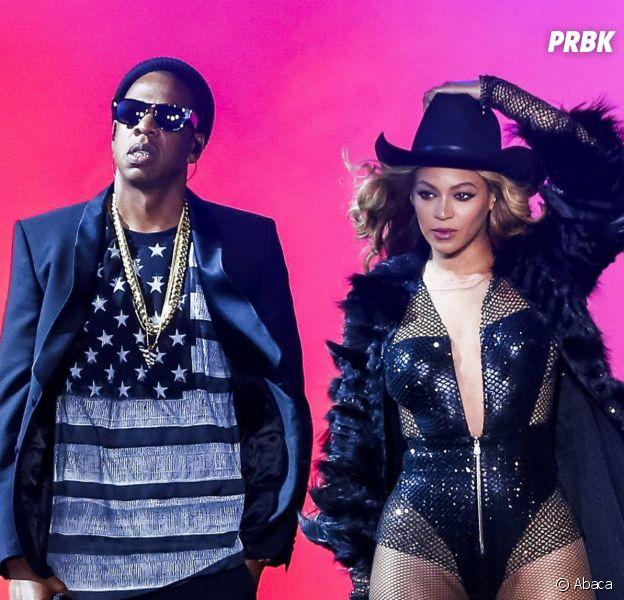 Beyoncé et Jay Z durant l'un des concerts du On The Run Tour, juillet 2014