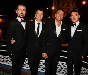 Damien Sargue, Roch Voisine, Dany Brillant et Vincent Niclo à la soirée Forever Gentlemen 2 à Paris, le 1er octobre 2014