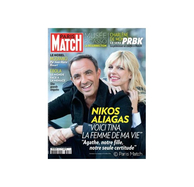 Nikos Aliagas et sa femme Tina en Une de Paris Match, le 15 octobre 2014