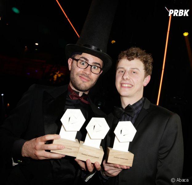 Cyprien et Norman aux Web Comedy Awards 2014 organisés par W9, Youtube et Orangina, le 21 mars 2014 à Paris