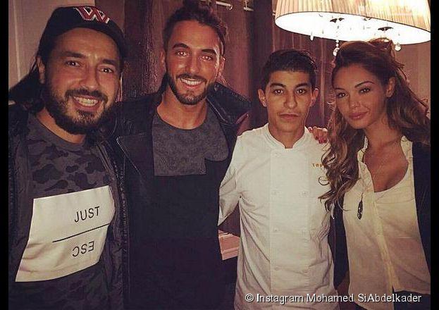 Moundir, Thomas Vergara et Nabilla Benattia posent avec Mohammed de Top Chef 2014