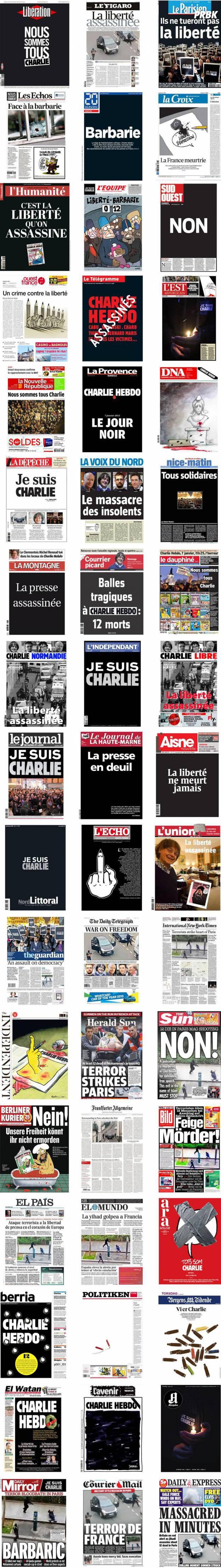 Charlie Hebdo : les Unes des quotidiens français et internationaux du 8 janvier 2015 rendent hommage aux journalistes et policiers tués dans l'attentat de Charlie Hebdo