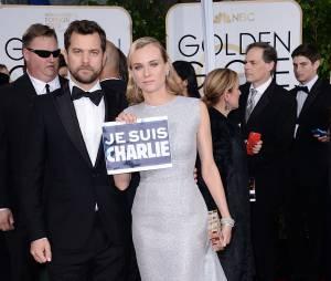 Diane Kruger et Joshua Jackson : couple solidaire sur le tapis rouge des Golden Globes 2015, le 11 janvier 2015 à Los Angeles