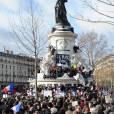La place de la République envahie par les Français pour la marche républicaine contre le terrorisme à Paris à Paris, le 11 janvier 2014