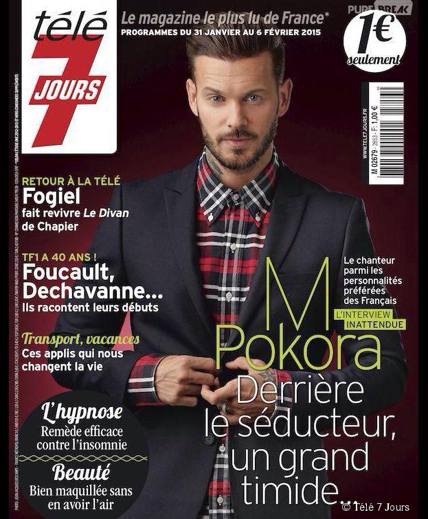 M. Pokora en Une du magazine Télé 7 Jours, numéro du 31 janvier au 6 février 2015