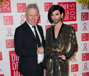 Jean-Paul Gaultier et Conchita Wurst au gala du Sidaction, le 29 janvier 2015 à Paris