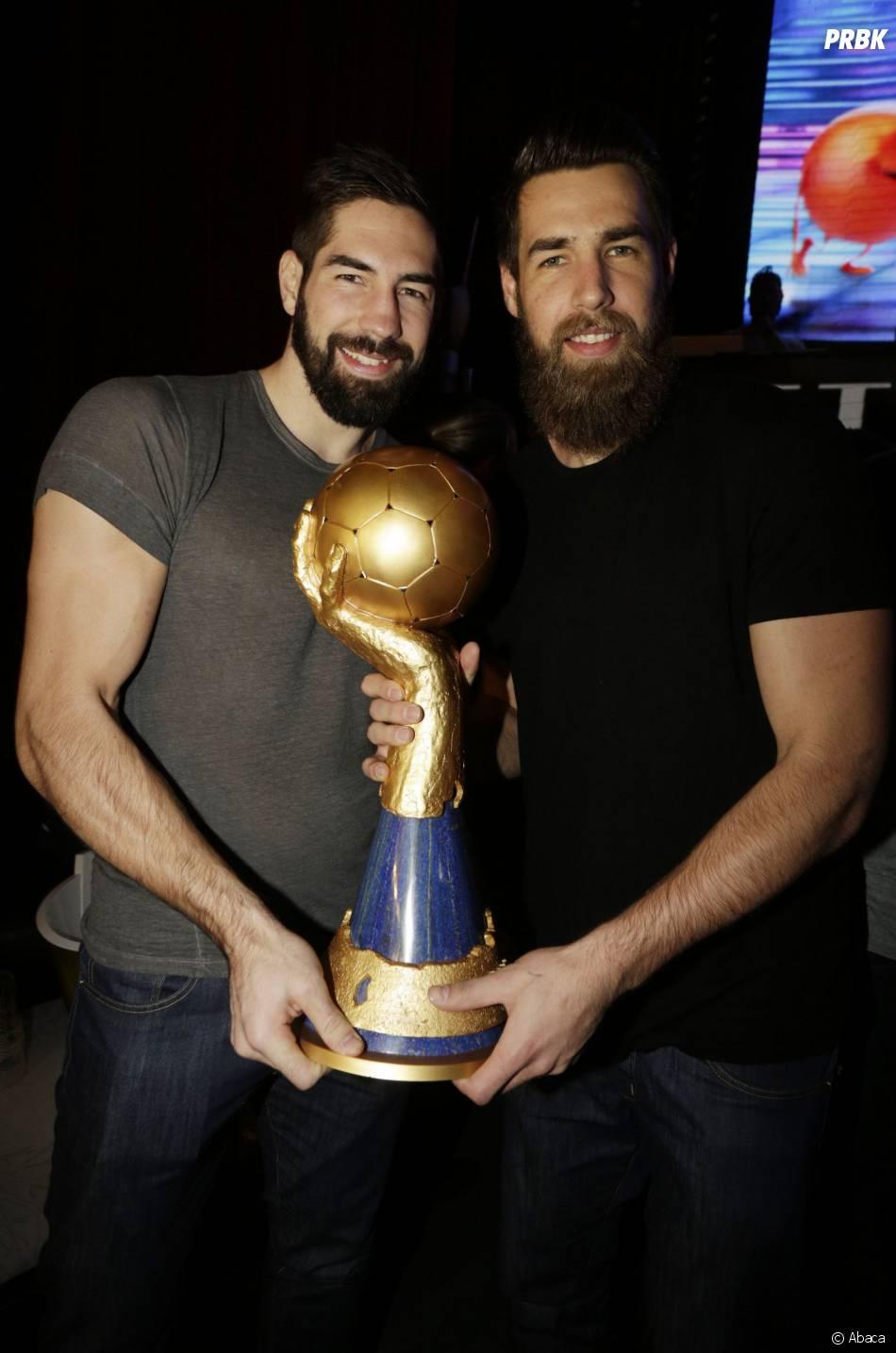 Nikola et Luka Karabatic au VIP Room pour fêter la victoire de l'équipe de France de handball au championnat du monde 2015, le 2 février 2015