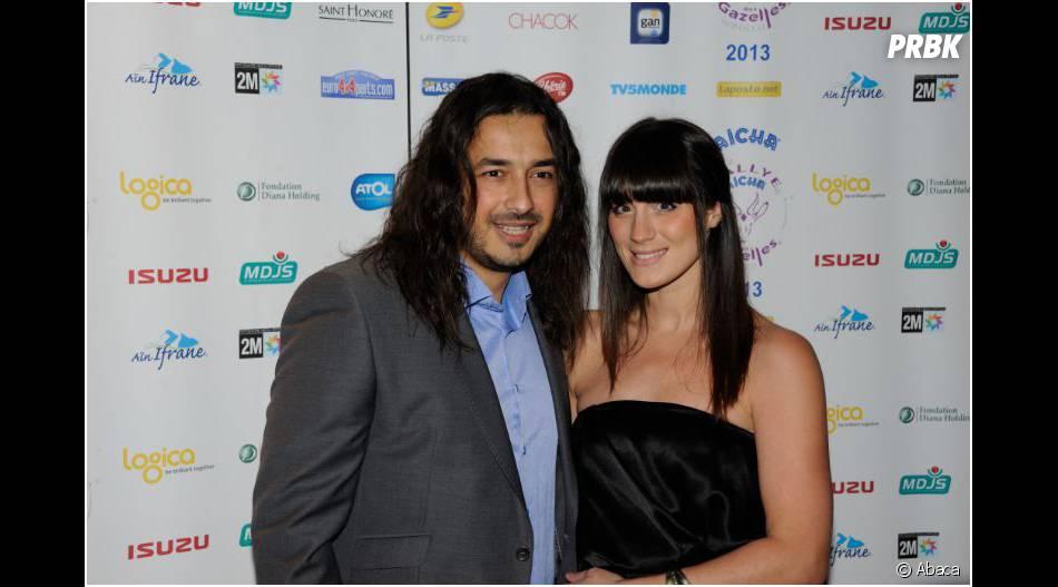 Moundir et sa femme Inès en couple pour la soirée de lancement du Rallye Aicha des Gazelles, le 12 novembre 2012 à Paris