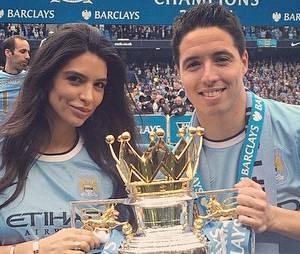 Samir Nasri et sa petite-amie Anara Atanes fêtent le titre de Manchester City en mai 2014