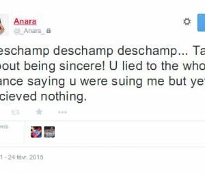 Anara Atanes s'en prend à Didier Deschamps sur Twitter, le 24 février 2015