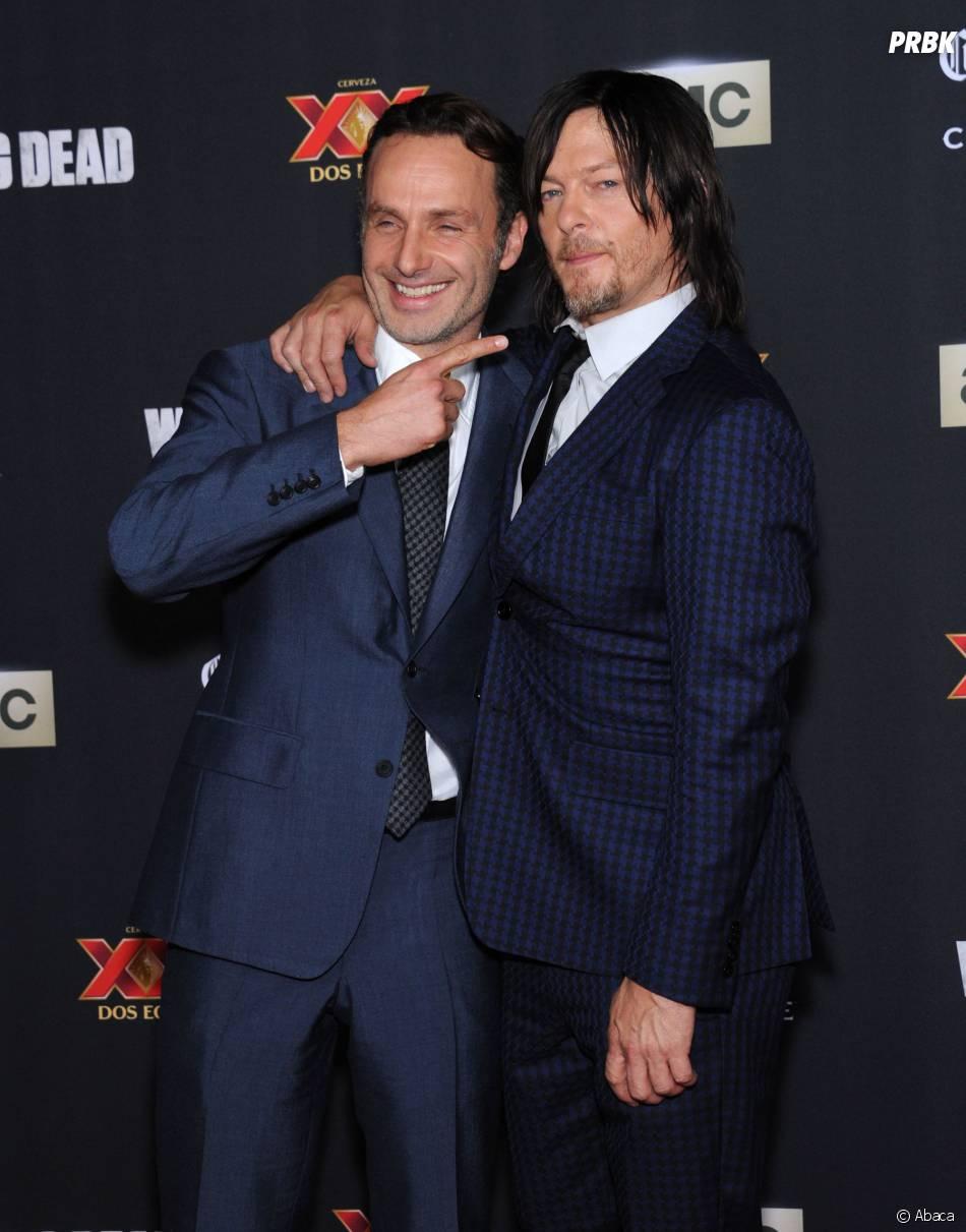 Norman Reedus et Andrew Lincoln à l'avant-première de la saison 5 de The Walking Dead