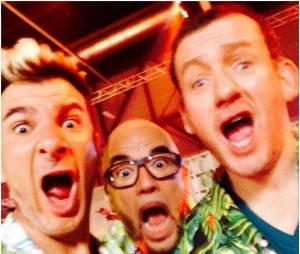 Michaël Youn, Pascal Obispo et Dany Boon pendant la tournée des Enfoirés 2015