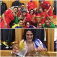 Edinson Cavani et ses coéquipiers du PSG avec le trophée de la Coupe de la Ligue, le 11 avril 2015