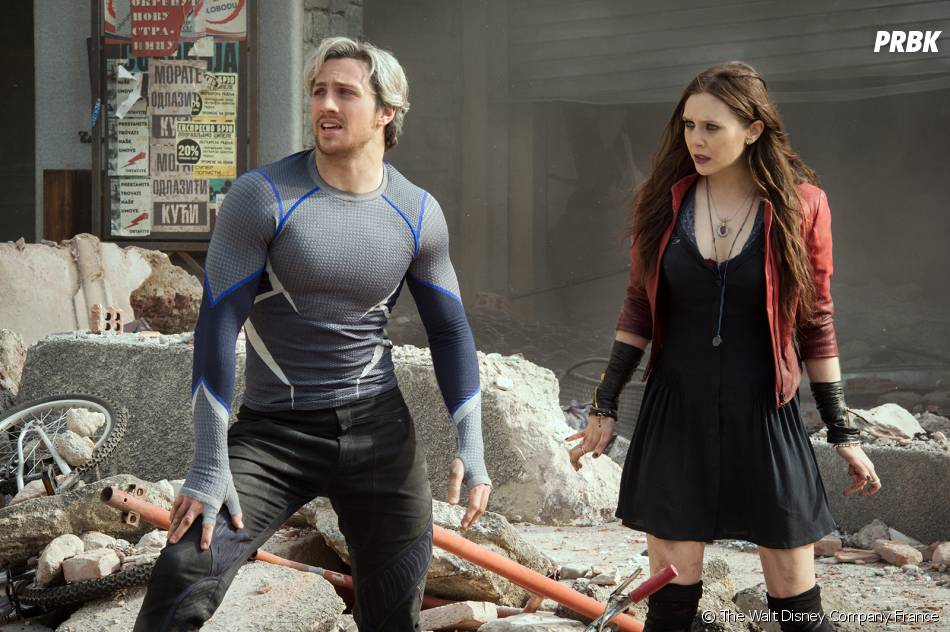 Avengers 2 : Aaron Taylor Johnson et Elizabeth Olsen sur une photo du film