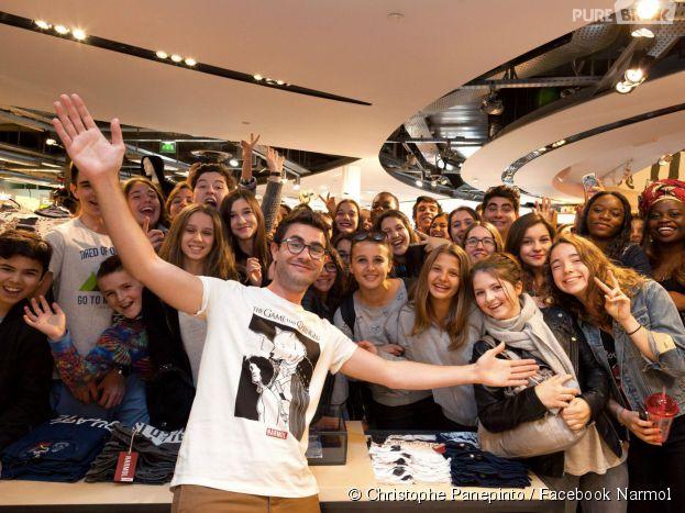 Cyprien Iov à la rencontre de ses fans lors de l'ouverture de sa boutique au Citadium Paris Caumartin à Paris le 27 avril 2015