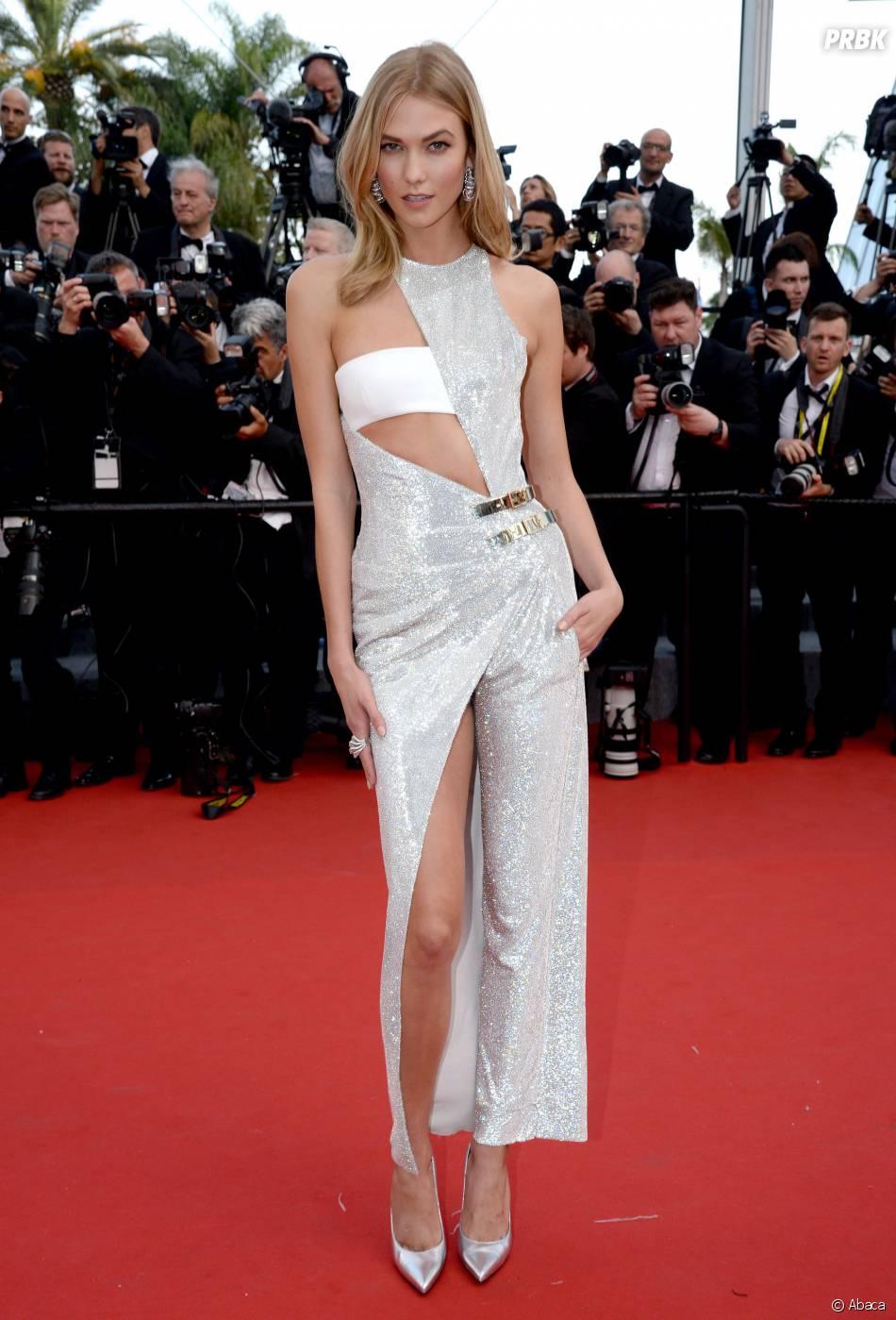Karlie Kloss sexy sur le tapis rouge, le 13 mai 2015 au Festival de Cannes