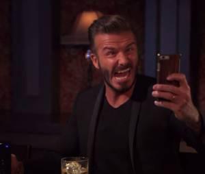 David Beckam sort sa plus belle grimace pour un selfie chez Jimmy Kimmel, le 15 mai 2015